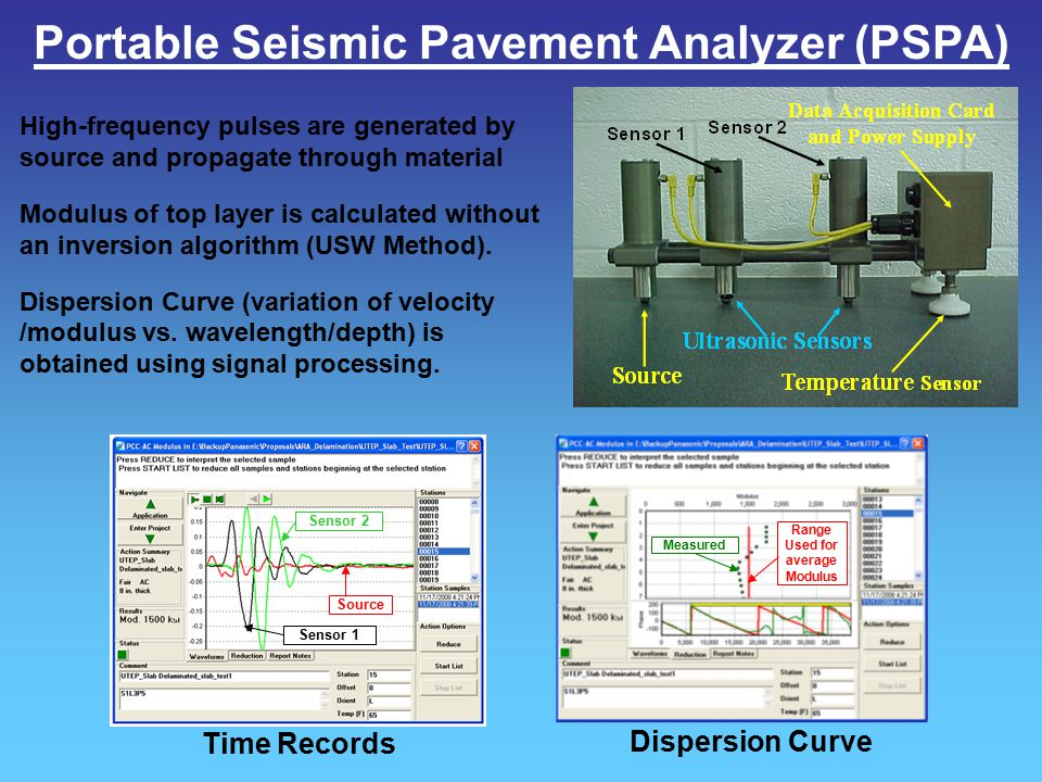 Portable Seismic Pavement Analyzer (PSPA) High-frequency pulses are generated by source and propagate through material Modulus of top layer is calcula