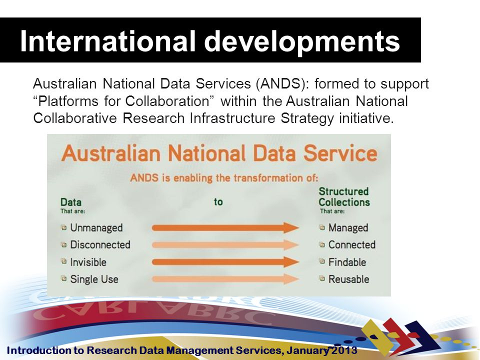 Introduction to Research Data Management Services, January 2013