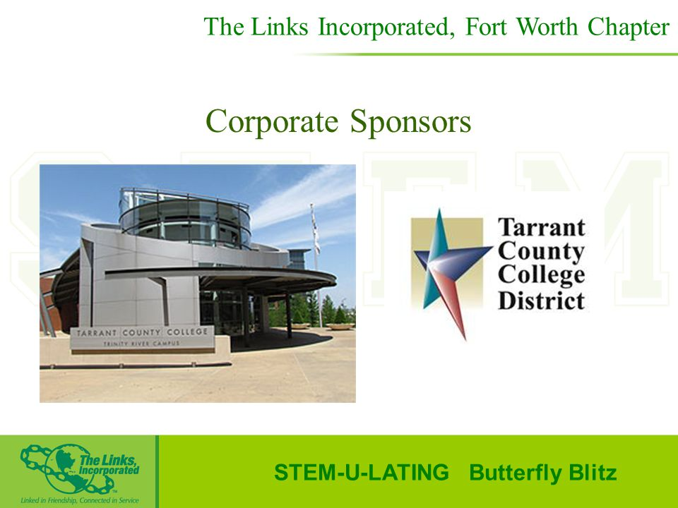 STEM-U-LATING Butterfly Blitz Corporate Sponsors The Links Incorporated, Fort Worth Chapter