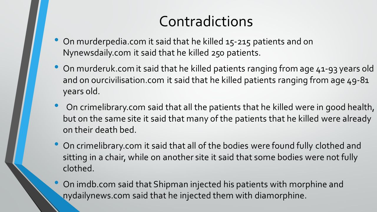 Contradictions On murderpedia.com it said that he killed 15-215 patients and on Nynewsdaily.com it said that he killed 250 patients. On murderuk.com i