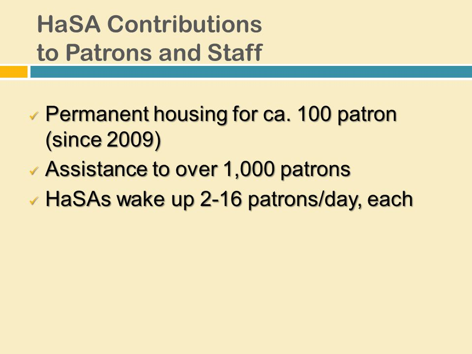 HaSA Contributions to Patrons and Staff Permanent housing for ca.