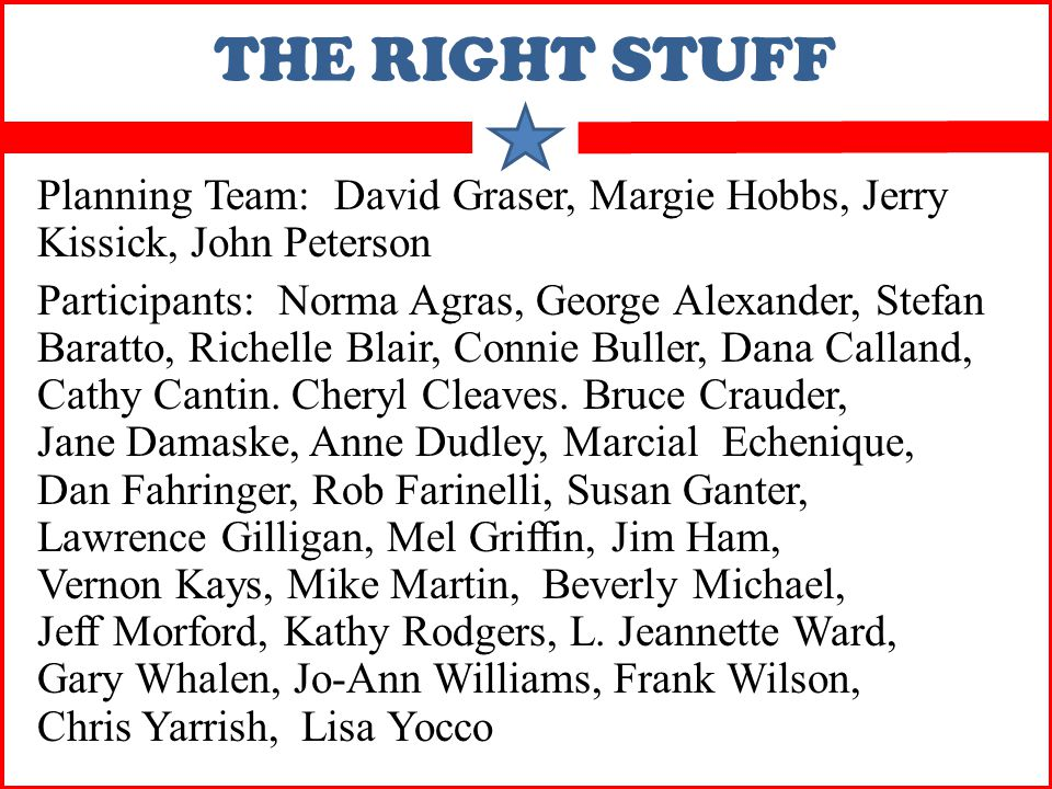 THE RIGHT STUFF Planning Team: David Graser, Margie Hobbs, Jerry Kissick, John Peterson Participants: Norma Agras, George Alexander, Stefan Baratto, Richelle Blair, Connie Buller, Dana Calland, Cathy Cantin.