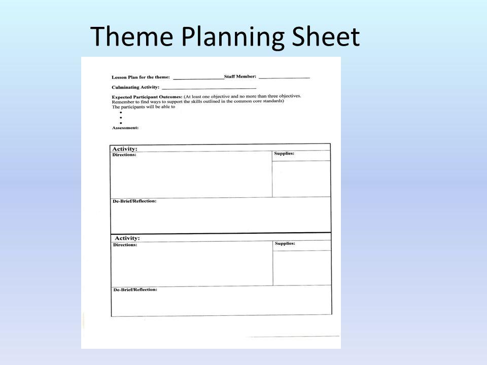 Theme Planning Sheet