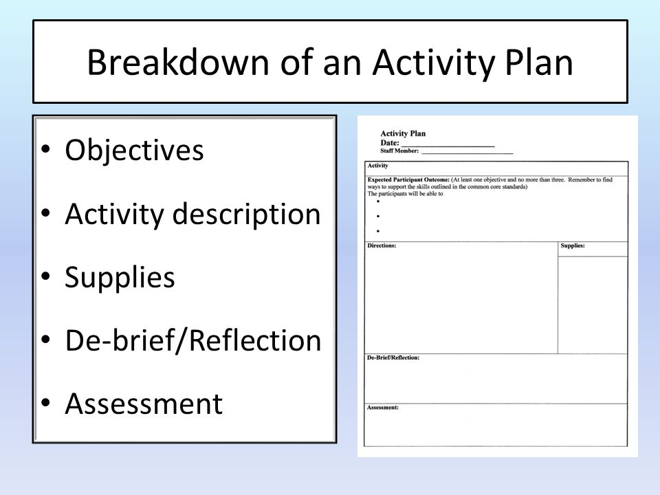 Objectives What you expect the participants to be able to do, know or feel after the activity Characteristics of A Good Objective Specific – says exactly what the learner will be able to do Measurable – can be observed by the end of the activity Attainable within scheduled time and specified conditions Relevant to the needs of the participant and the organization