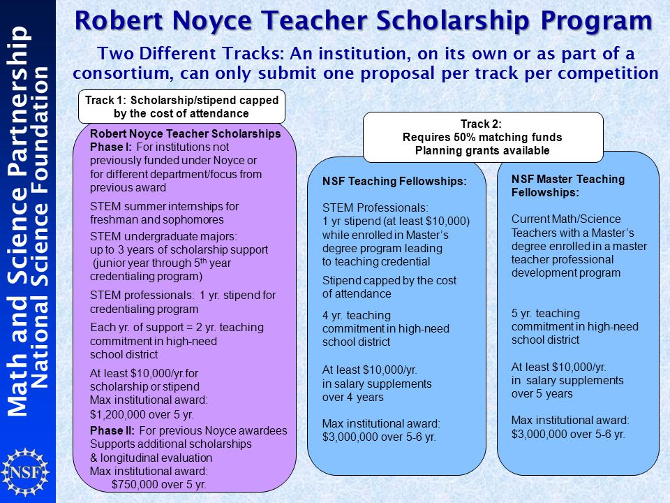 Math and Science Partnership National Science Foundation Robert Noyce Teacher Scholarships Phase I: For institutions not previously funded under Noyce or for different department/focus from previous award STEM summer internships for freshman and sophomores STEM undergraduate majors: up to 3 years of scholarship support (junior year through 5 th year credentialing program) STEM professionals: 1 yr.