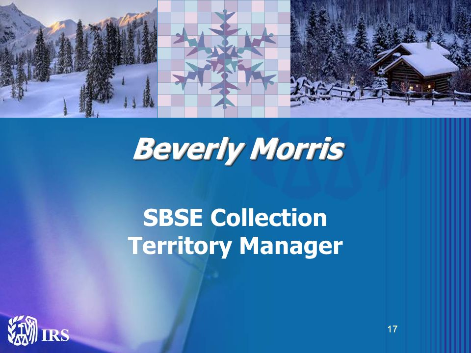 Beverly Morris SBSE Collection Territory Manager 17