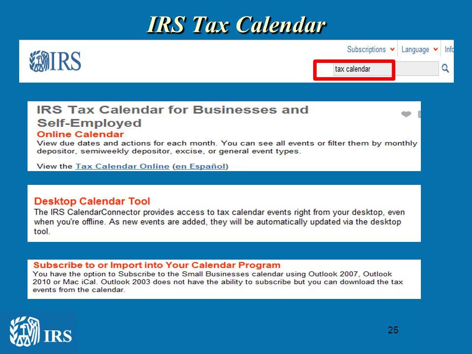 25 IRS Tax Calendar IRS Tax Calendar