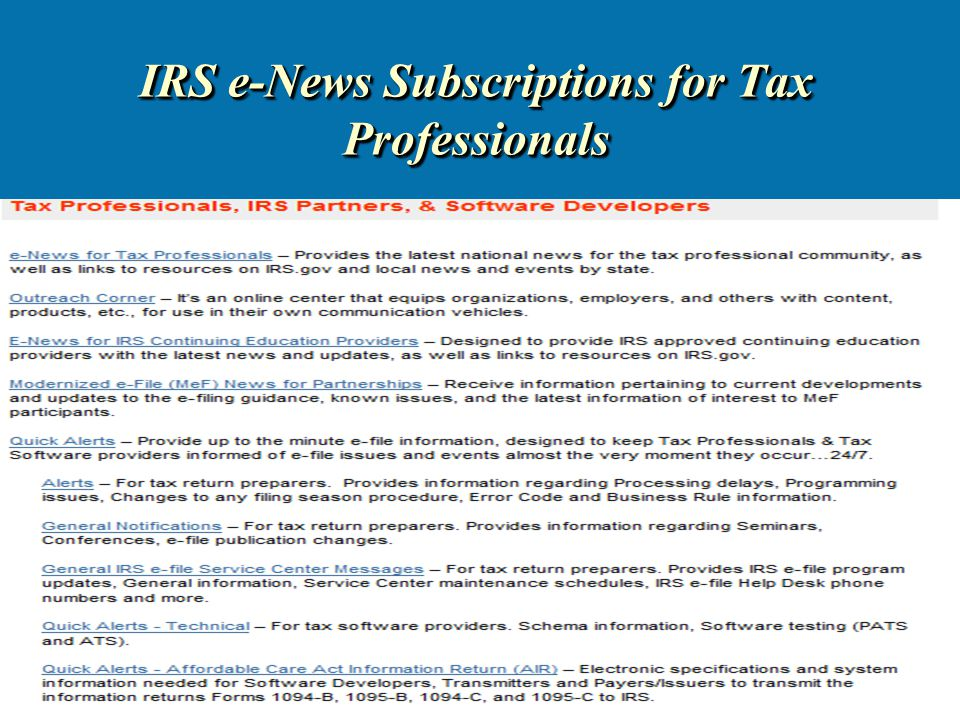 26 IRS e-News Subscriptions for Tax Professionals