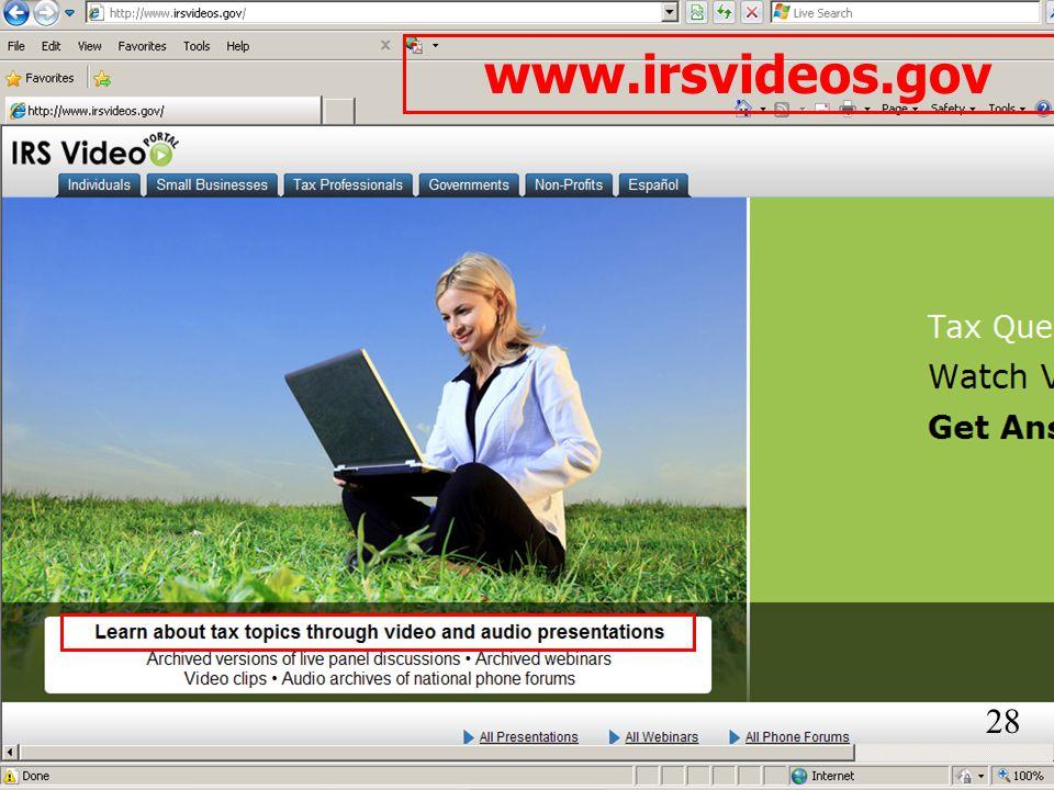 www.irsvideos.gov 28