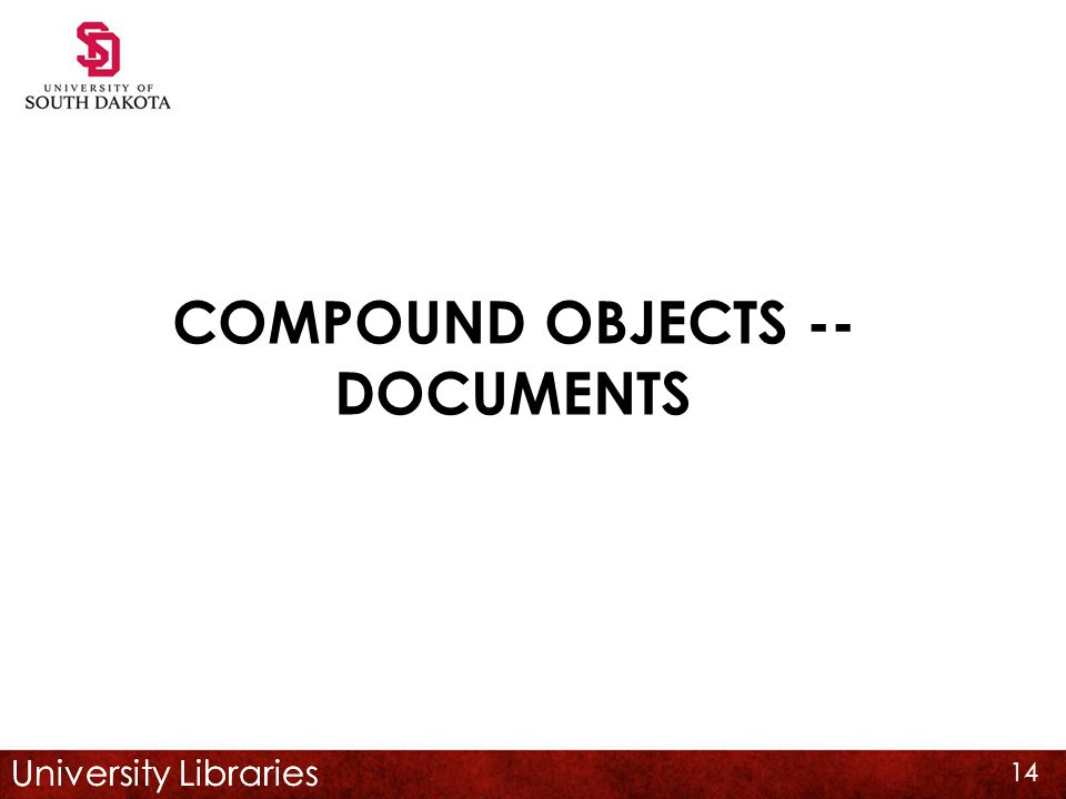University Libraries COMPOUND OBJECTS -- DOCUMENTS 14