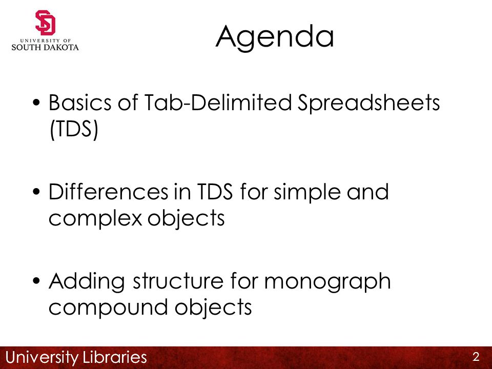 University Libraries Agenda Basics of Tab-Delimited Spreadsheets (TDS) Differences in TDS for simple and complex objects Adding structure for monograph compound objects 2