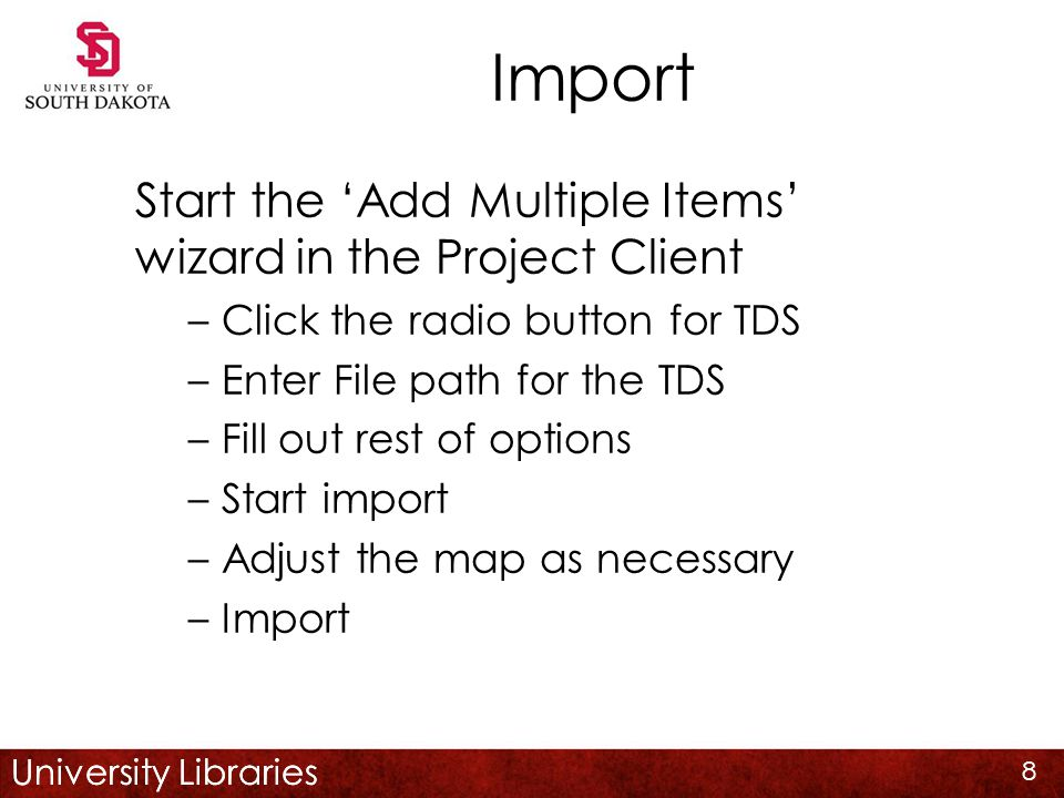 University Libraries Import Recommend the same pre-input routine as for simple objects Click 'Add Compound Object' to start wizard Rest of wizard is the same as for simple objects Get the metadata map AFTER wizard finished 19