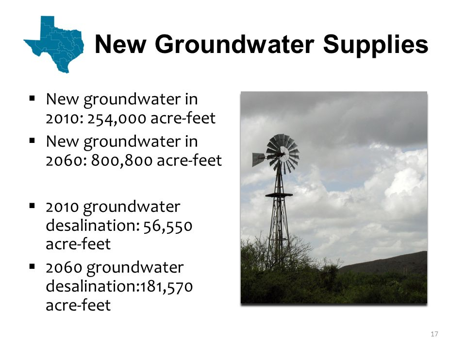 New Groundwater Supplies  New groundwater in 2010: 254,000 acre-feet  New groundwater in 2060: 800,800 acre-feet  2010 groundwater desalination: 56,550 acre-feet  2060 groundwater desalination:181,570 acre-feet 17