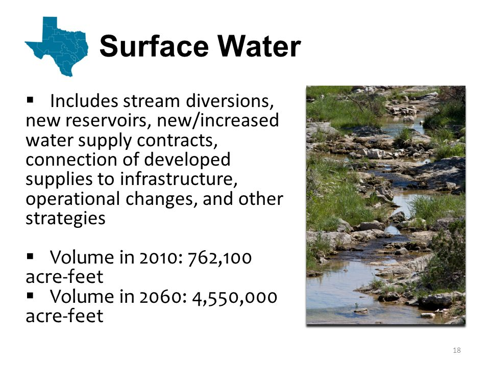 Surface Water  Includes stream diversions, new reservoirs, new/increased water supply contracts, connection of developed supplies to infrastructure, operational changes, and other strategies  Volume in 2010: 762,100 acre-feet  Volume in 2060: 4,550,000 acre-feet 18