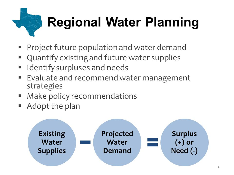 Existing Water Supplies Projected Water Demand Surplus (+) or Need (-)  Project future population and water demand  Quantify existing and future water supplies  Identify surpluses and needs  Evaluate and recommend water management strategies  Make policy recommendations  Adopt the plan Regional Water Planning 6