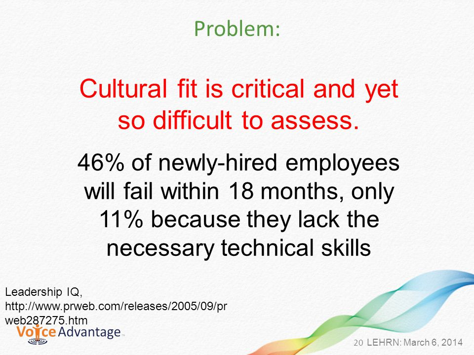 20 LEHRN: March 6, 2014 Problem: Cultural fit is critical and yet so difficult to assess.