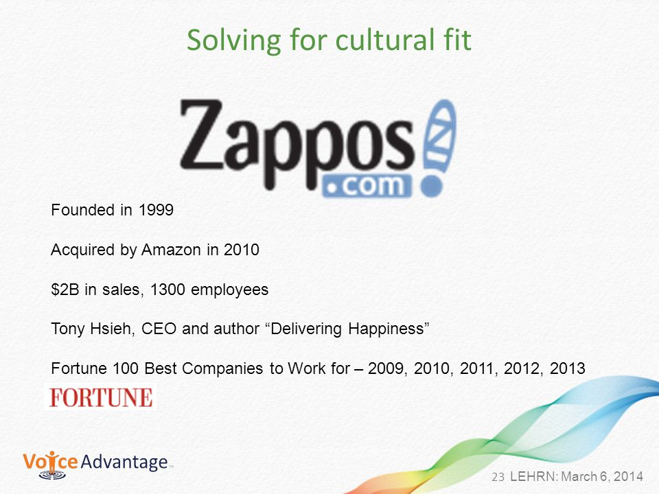 23 LEHRN: March 6, 2014 Solving for cultural fit Founded in 1999 Acquired by Amazon in 2010 $2B in sales, 1300 employees Tony Hsieh, CEO and author Delivering Happiness Fortune 100 Best Companies to Work for – 2009, 2010, 2011, 2012, 2013