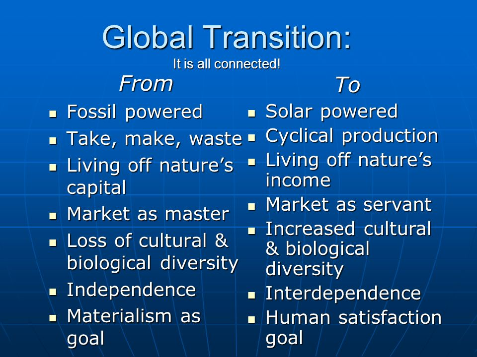 Global Transition: It is all connected.
