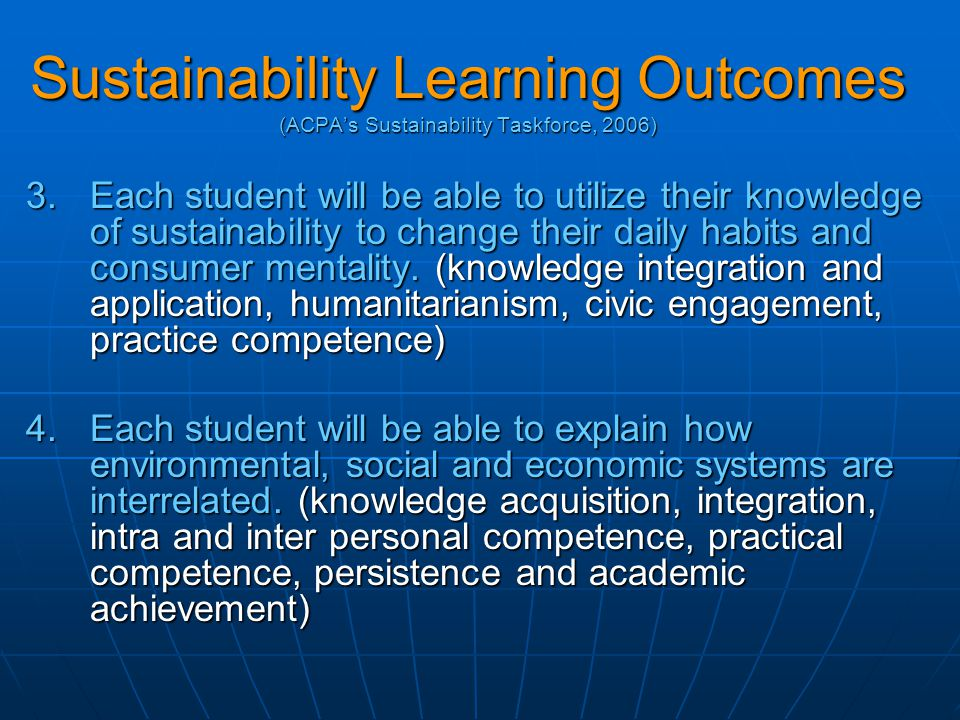 Sustainability Learning Outcomes (ACPA's Sustainability Taskforce, 2006) 3.Each student will be able to utilize their knowledge of sustainability to change their daily habits and consumer mentality.