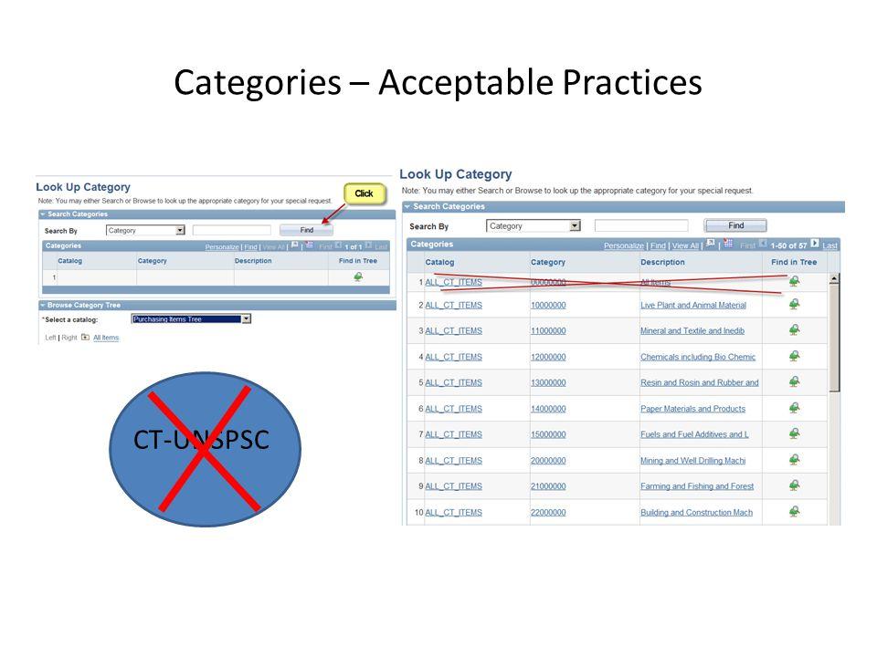Categories – Acceptable Practices CT-UNSPSC