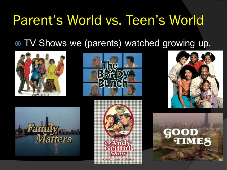 Parent's World vs. Teen's World  TV Shows we (parents) watched growing up.