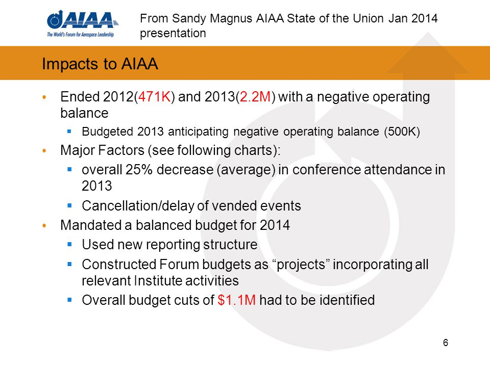 Impacts to AIAA Ended 2012(471K) and 2013(2.2M) with a negative operating balance  Budgeted 2013 anticipating negative operating balance (500K) Major Factors (see following charts):  overall 25% decrease (average) in conference attendance in 2013  Cancellation/delay of vended events Mandated a balanced budget for 2014  Used new reporting structure  Constructed Forum budgets as projects incorporating all relevant Institute activities  Overall budget cuts of $1.1M had to be identified 6 From Sandy Magnus AIAA State of the Union Jan 2014 presentation