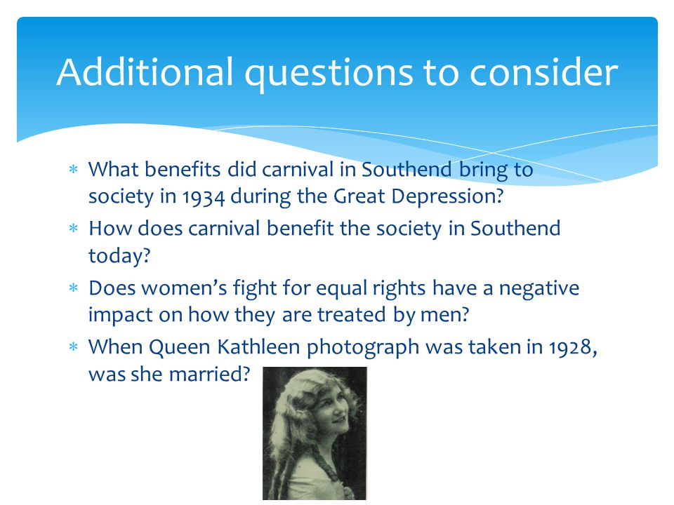  What benefits did carnival in Southend bring to society in 1934 during the Great Depression.