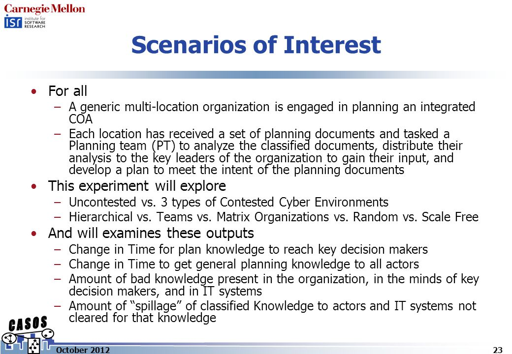 Scenarios of Interest For all –A generic multi-location organization is engaged in planning an integrated COA –Each location has received a set of planning documents and tasked a Planning team (PT) to analyze the classified documents, distribute their analysis to the key leaders of the organization to gain their input, and develop a plan to meet the intent of the planning documents This experiment will explore –Uncontested vs.
