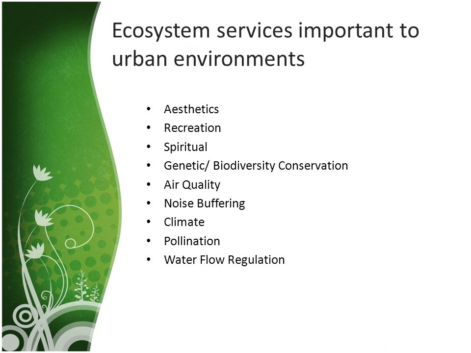 Ecosystem services important to urban environments Aesthetics Recreation Spiritual Genetic/ Biodiversity Conservation Air Quality Noise Buffering Clim
