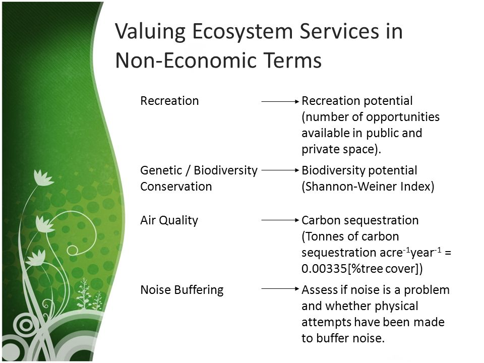 Valuing Ecosystem Services in Non-Economic Terms RecreationRecreation potential (number of opportunities available in public and private space). Genet