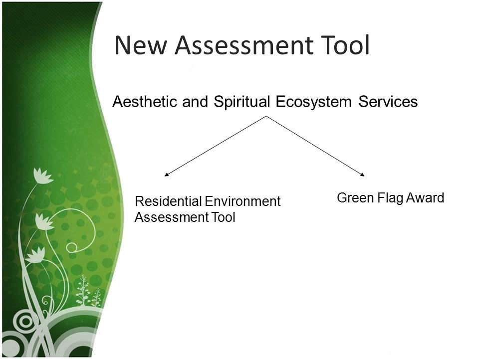 New Assessment Tool Aesthetic and Spiritual Ecosystem Services Green Flag Award Residential Environment Assessment Tool