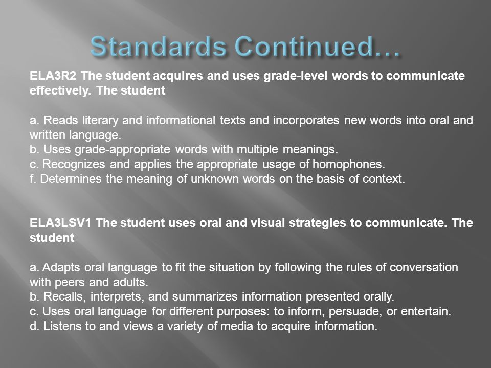 ELA3R2 The student acquires and uses grade-level words to communicate effectively.