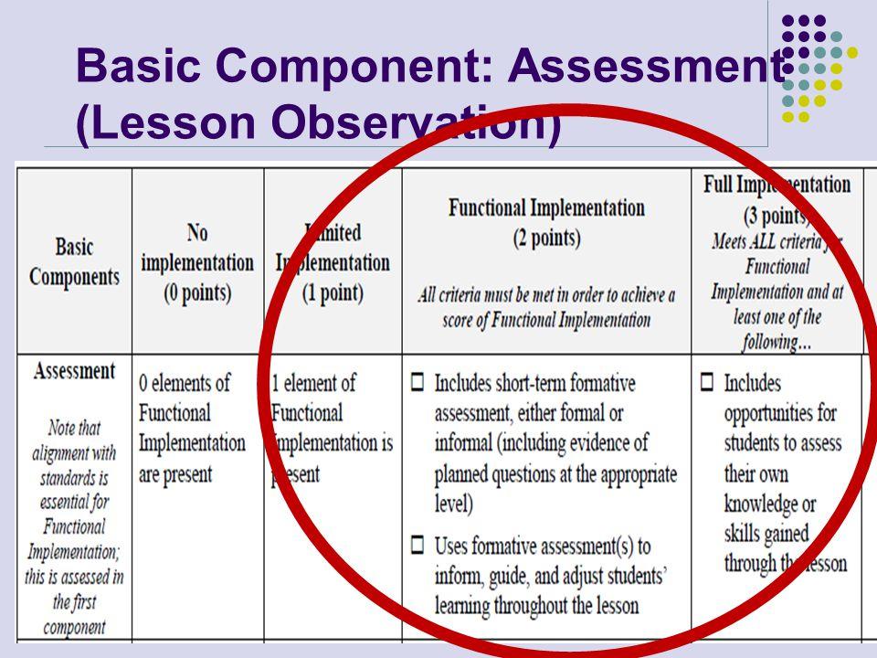 Basic Component: Assessment (Lesson Observation)