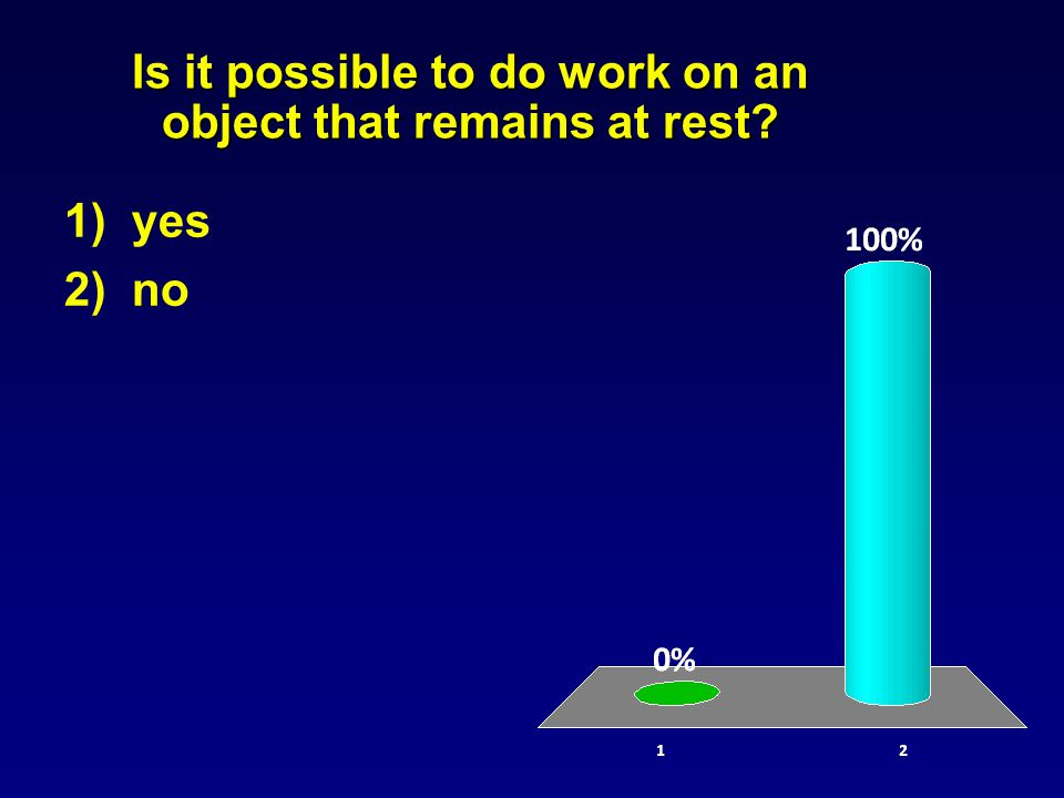 Is it possible to do work on an object that remains at rest 1) yes 2) no