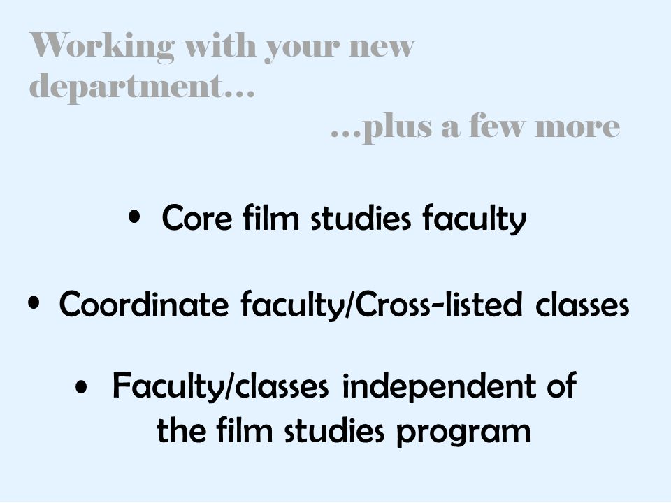 Working with your new department… …plus a few more Core film studies faculty Coordinate faculty/Cross-listed classes Faculty/classes independent of the film studies program