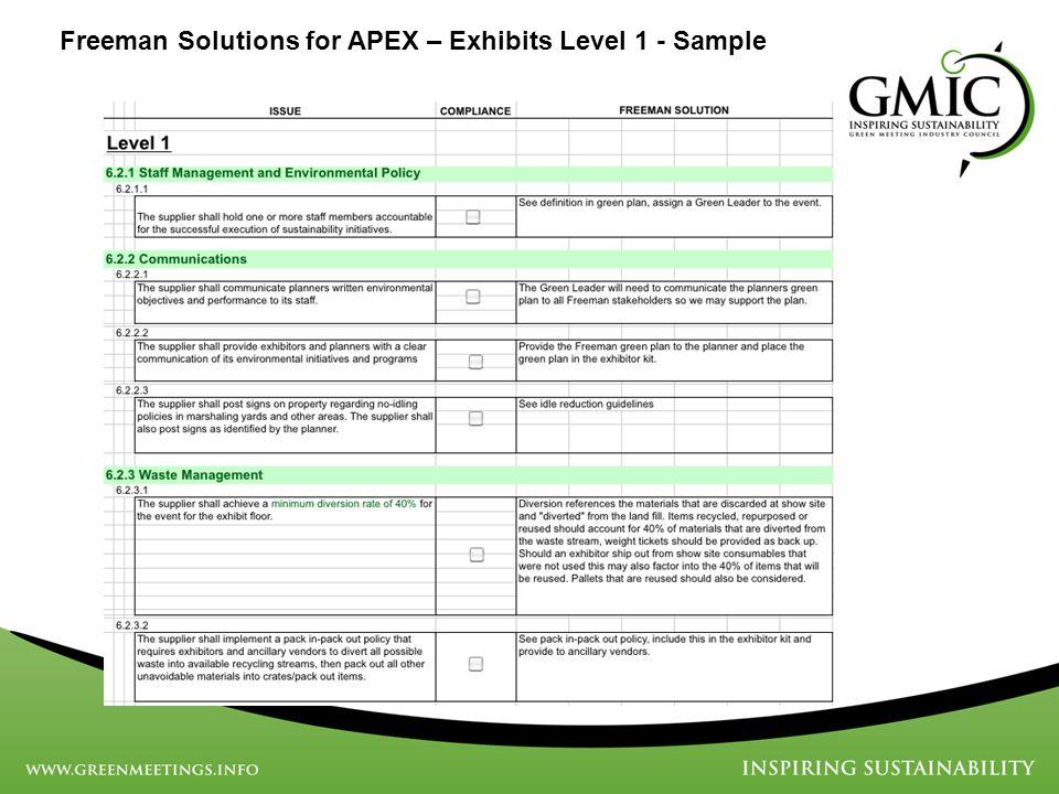 Freeman Solutions for APEX – Exhibits Level 1 - Sample