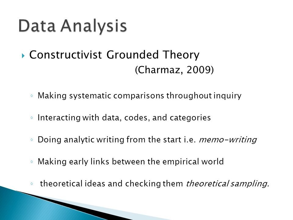  Constructivist Grounded Theory (Charmaz, 2009) ◦ Making systematic comparisons throughout inquiry ◦ Interacting with data, codes, and categories ◦ Doing analytic writing from the start i.e.
