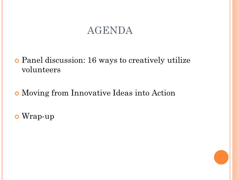 AGENDA Panel discussion: 16 ways to creatively utilize volunteers Moving from Innovative Ideas into Action Wrap-up