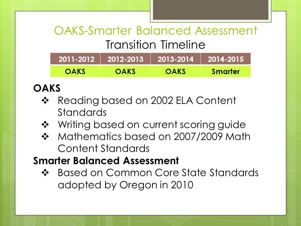 OAKS-Smarter Balanced Assessment Transition Timeline 2011-20122012-20132013-20142014-2015 OAKS Smarter OAKS  Reading based on 2002 ELA Content Standards  Writing based on current scoring guide  Mathematics based on 2007/2009 Math Content Standards Smarter Balanced Assessment  Based on Common Core State Standards adopted by Oregon in 2010