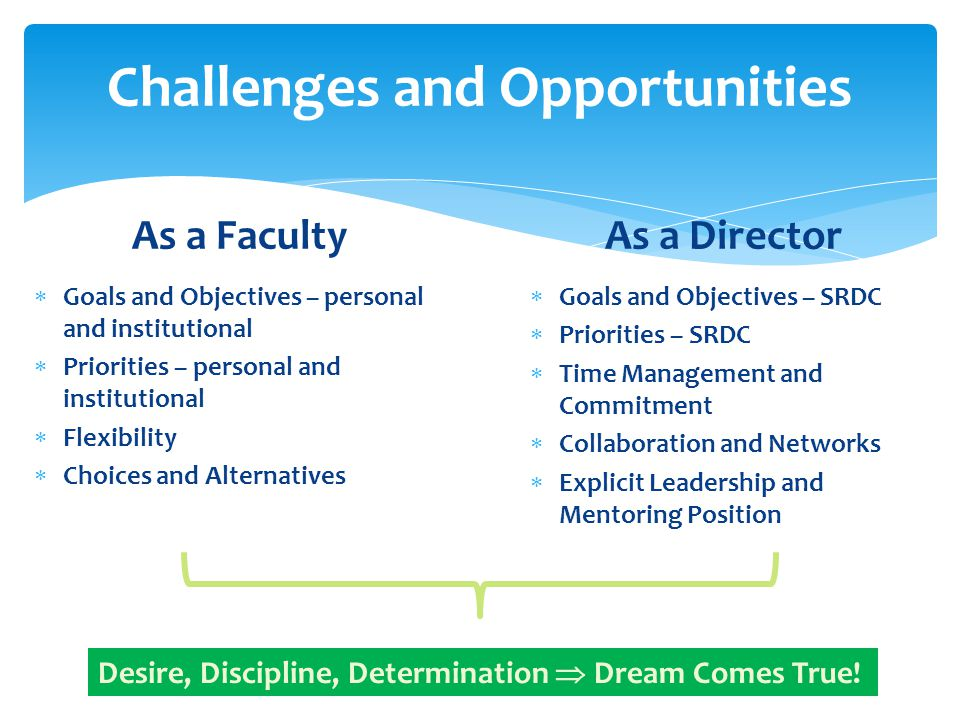 Challenges and Opportunities As a Faculty  Goals and Objectives – personal and institutional  Priorities – personal and institutional  Flexibility