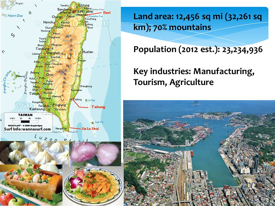 Land area: 12,456 sq mi (32,261 sq km); 70% mountains Population (2012 est.): 23,234,936 Key industries: Manufacturing, Tourism, Agriculture