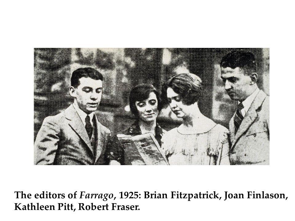 The editors of Farrago, 1925: Brian Fitzpatrick, Joan Finlason, Kathleen Pitt, Robert Fraser.