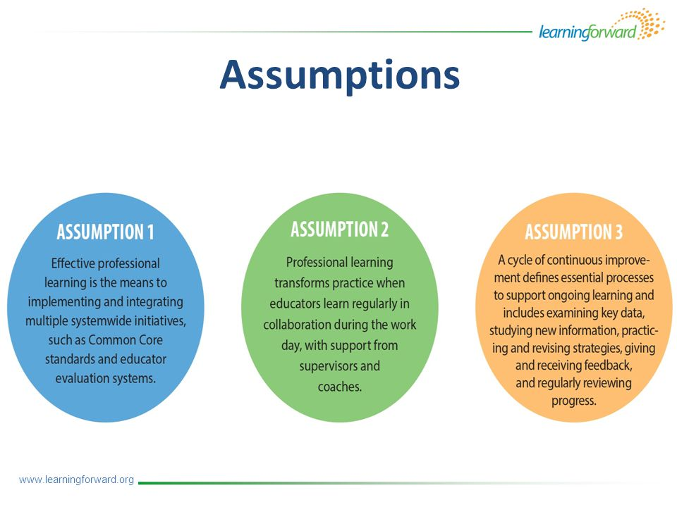 www.learningforward.org Assumptions