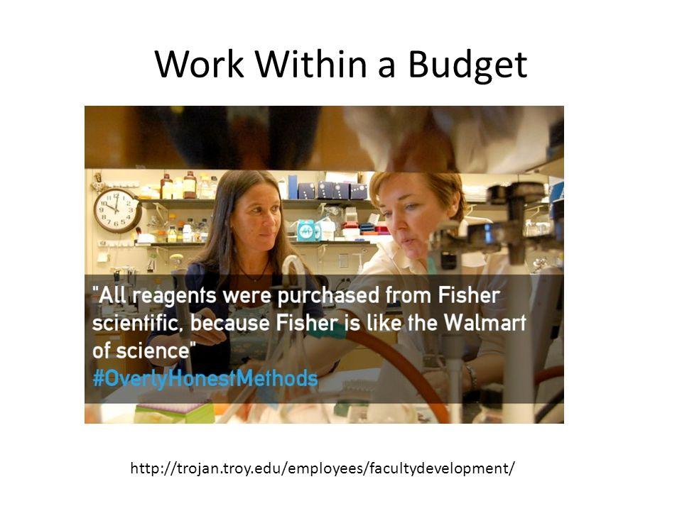 Work Within a Budget http://trojan.troy.edu/employees/facultydevelopment/