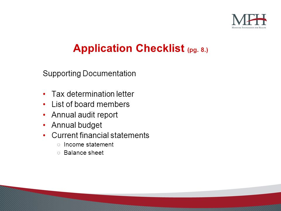 Application Checklist (pg.