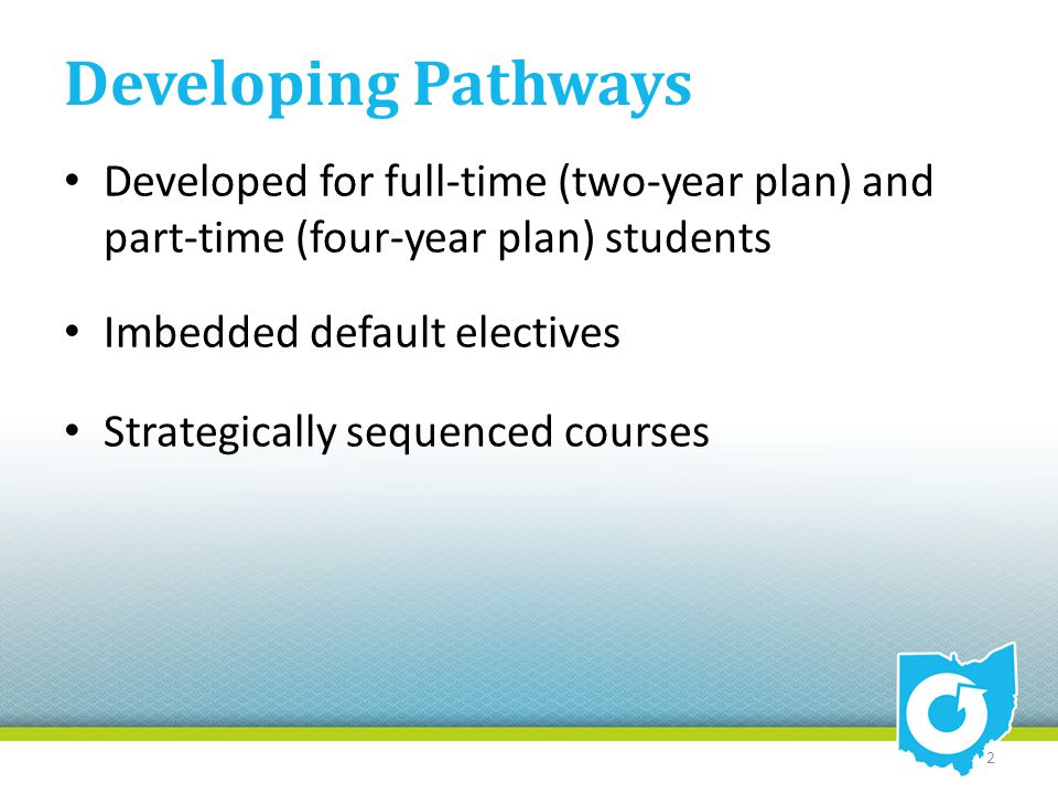 Developing Pathways Developed for full-time (two-year plan) and part-time (four-year plan) students Imbedded default electives Strategically sequenced courses 2