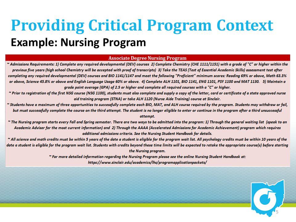 Providing Critical Program Context Example: Nursing Program 5