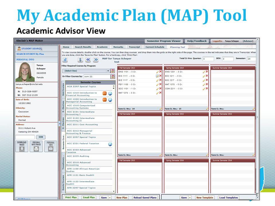 My Academic Plan (MAP) Tool Academic Advisor View
