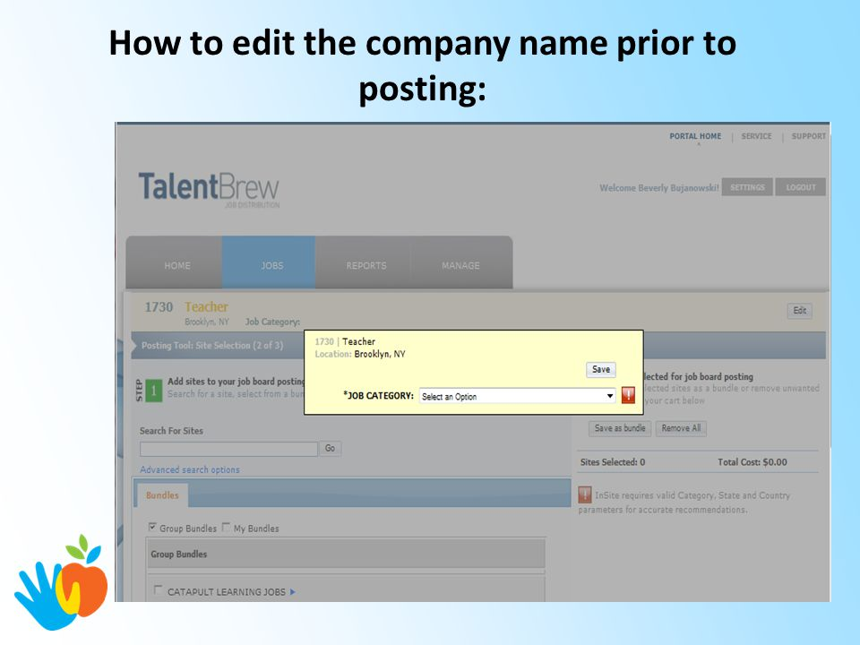 How to edit the company name prior to posting: