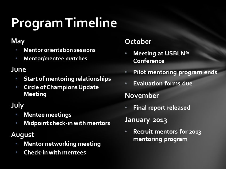 October Meeting at USBLN® Conference Pilot mentoring program ends Evaluation forms due November Final report released January 2013 Recruit mentors for 2013 mentoring program May Mentor orientation sessions Mentor/mentee matches June Start of mentoring relationships Circle of Champions Update Meeting July Mentee meetings Midpoint check-in with mentors August Mentor networking meeting Check-in with mentees Program Timeline